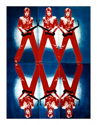 Bowie Red Blue Sax Multiple Mirror