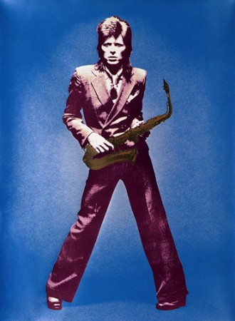 Metalic Blue Brown Bowieart with sax