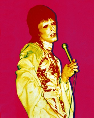 Pink Bowie art with mic